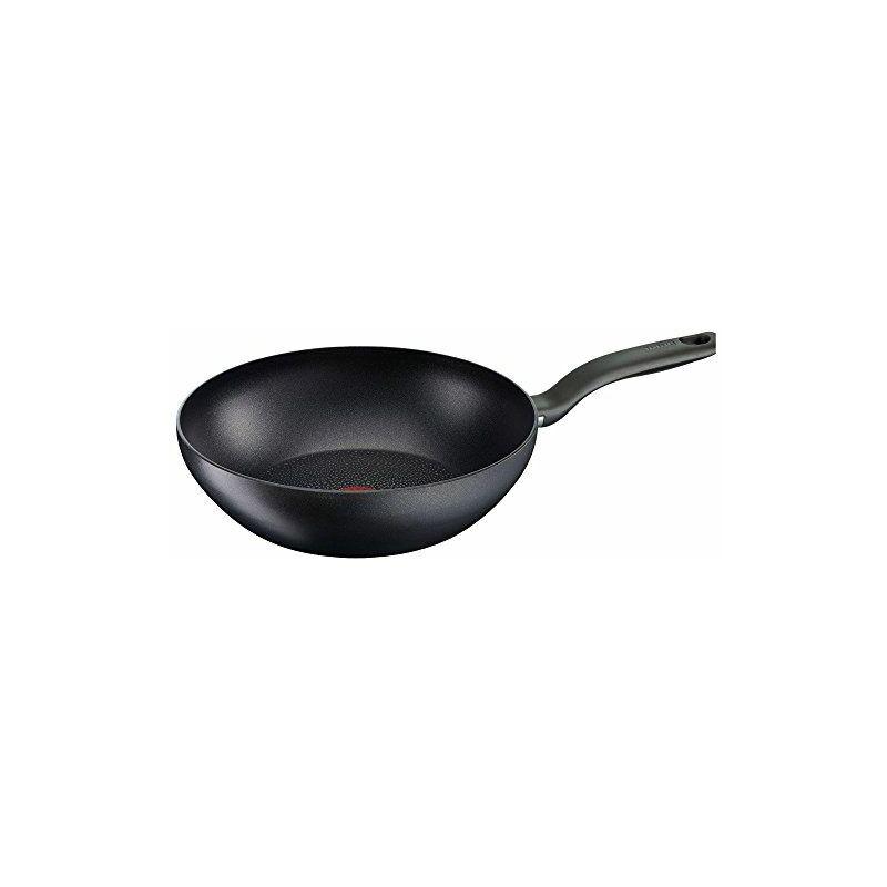 Tefal c69519Hard Titanium Plus Wok poêle wok antiadhésive Diamètre 28cm, Aluminium, noir, 47x 29.4x 12cm