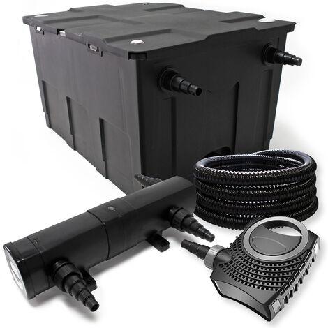 Teichfilter Set aus 12000l UVC Teichklärer mit 72W 80W Pumpe Schlauch Skimmer u. Fontänenpumpe
