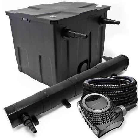 Teichfilter Set aus 12000l, UVC Teichklärer mit 72W, 80W Pumpe, Schlauch, Skimmer u. Fontänenpumpe
