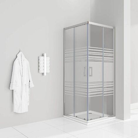 Teilsatinierte Duschkabine mit Schiebetüren Eckdusche mit Rollensystem aus ESG Glas 185cm Hoch DK77
