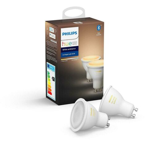 Teinte blanc 2 ampoules a' leds intelligentes 5w prise gu10 2200k-6500k gradable bluetooth compatible avec alexa et apple home kit 62929800