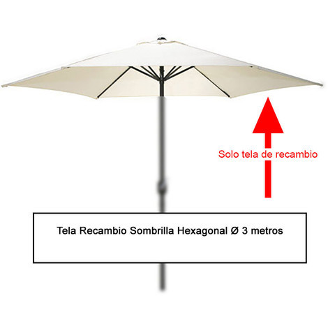 Tela Recambio Sombrilla Hexagonal Ø 3 Metros (08091050) - NEOFERR..