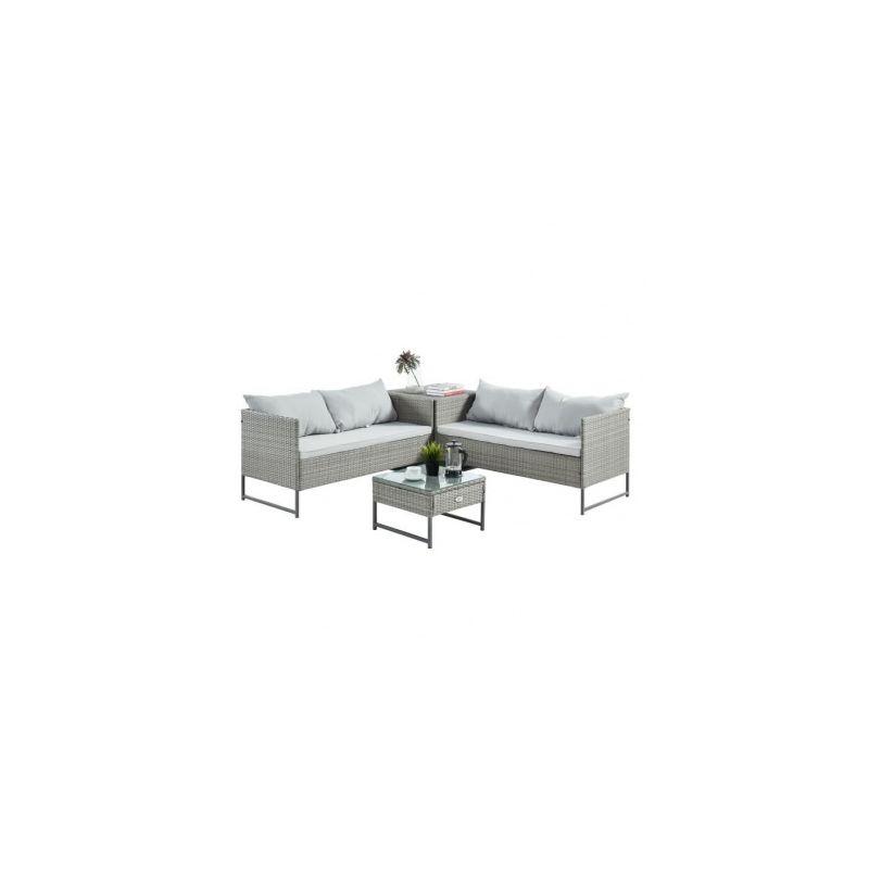TELA Salon de jardin 4 places en resine tressee - deux canapes et une table  basse avec une table/coffre dappoint