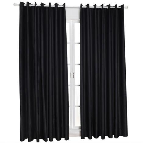 """Telas aislantes termico de habitaciones de aislamiento oscurecimiento cortinas para la sala de estar de 55 """"X96"""", negro"""