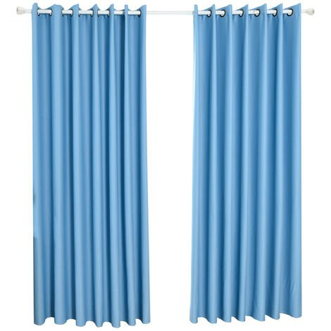 Telas aislantes termicos aislando la sala de oscurecimiento cortinas para la sala de estar 140 * 245cm, Azul marino