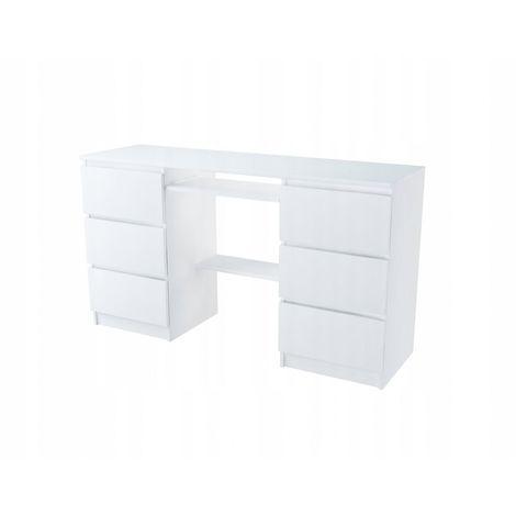 TELDE   Bureau informatique/d'ordinateur   50x140x76   6 tiroirs étagère imprimante   Support clavier   Mobilier bureau/travail   Blanc