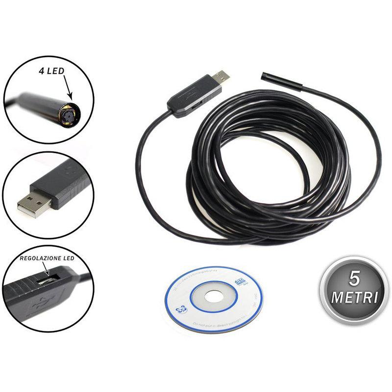 ENDOSCOPIO USB FLESSIBILE TELECAMERA ISPEZIONE LED 15 METRI SONDA IMPERMEABILE