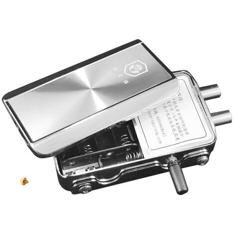 Telecommande de serrure de porte antivol furtive intelligente avec 2 telecommandes livree avec des piles correspondantes en acier inoxydable materiau argent