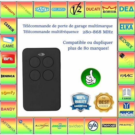 Telecommande multifrequence 280-868 MHz. Compatible avec SOMFY KEYTIS RTS NS