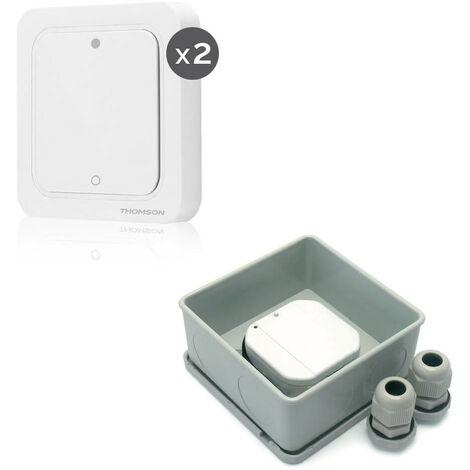 Télécommande murale pour éclairage - 2 Interrupteurs + Micro module récepteur extérieur