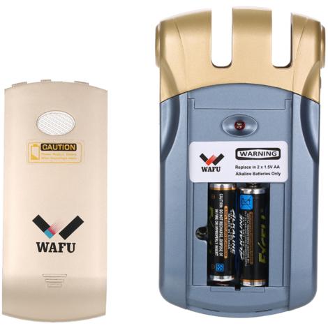 Telecommande Sans Fil Lock Intelligent, 4 Touches a Distance, Bleu Et Or, Wafu