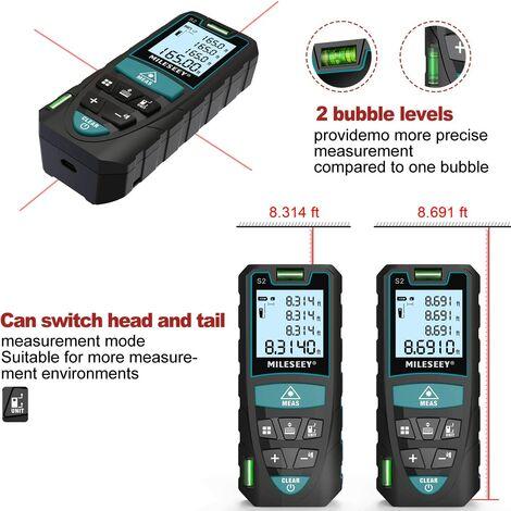 Télémètre Laser 50m, 2 Niveaux à Bulle Mesure Laser Numérique,IP54 avec LCD-écran et Fonction Sourdine, m/in/ft/ft+in de Pythagore, Distance, Surface et Volume - S2