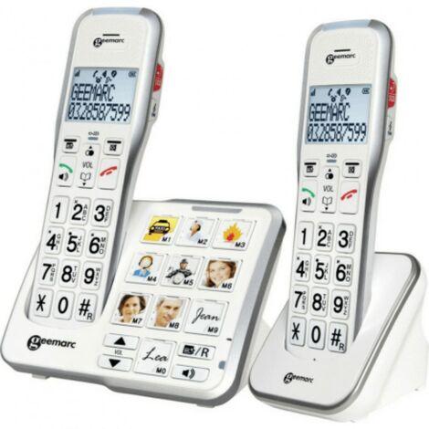 Téléphone Fixe Senior 595 Photo Trio, Geemarc - blanc