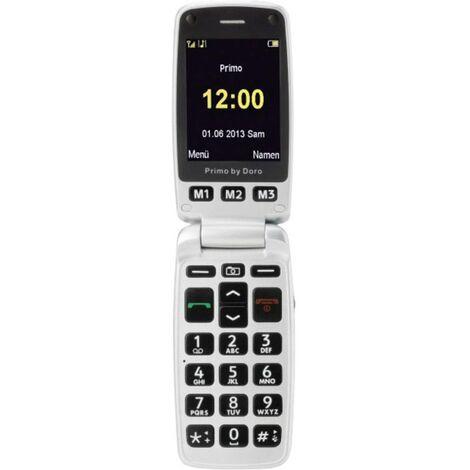 Téléphone Portable à Clapet Pour Séniors Primo By Doro 413 Avec Station De Charge Touche Sos Argent