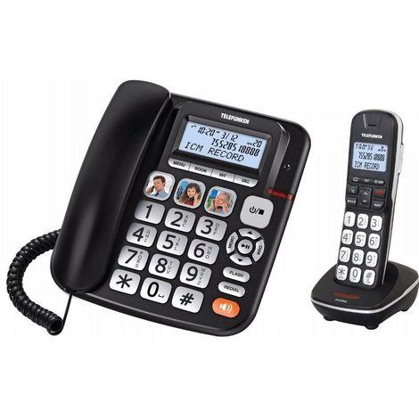 Téléphone Senior Fixe Combo 952 Telefunken - Noir