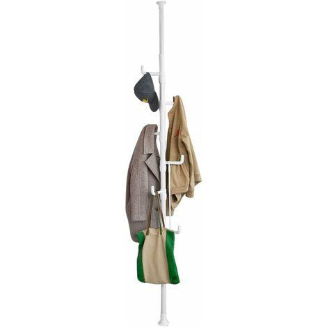 Télescope Porte-manteaux Télescopique - 6 chrochets Hauteur (214cm-275cm) avec Vêtements Fork FRG159-W SoBuy®