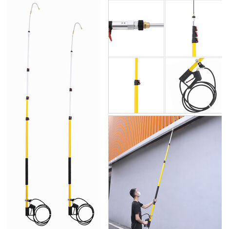 Telescopic Pressure Washer Lance 24 FT Long Reach Pole Extension Roof Window