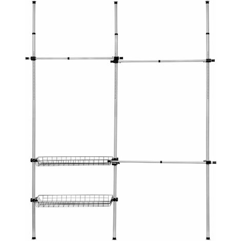 Telescopic wardrobe system - clothes rack, wardrobe rail, clothes hanging rail - grey - grau