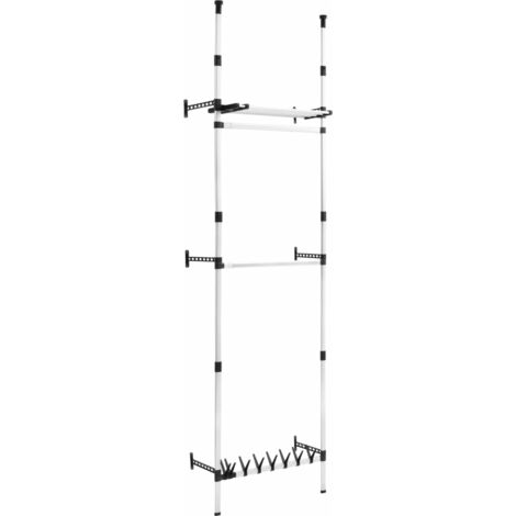 Telescopic Wardrobe System with Rods and Shelf Aluminium
