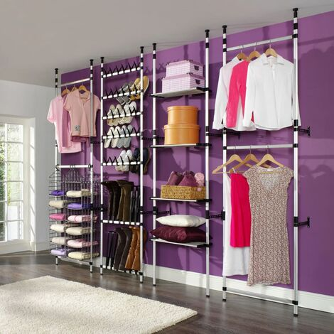 Telescopic Wardrobe System with Rods and Shelf Aluminium - Silver