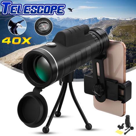 Telescopio monocular prisma BAK4 + trípode + brújula + clip para teléfono