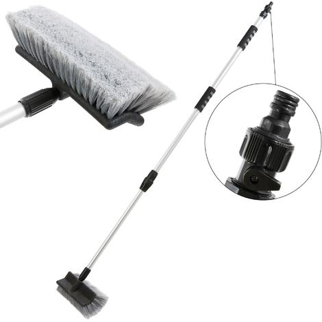Teleskop Waschbürste 120 - 200 cm (Wasserdurchlauf, An-/Aus-Schalter) Autowaschbürste Bürste PKW LKW Autopflege