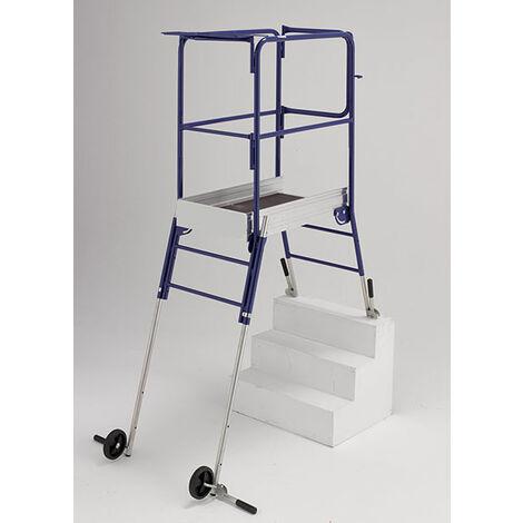 Teleskopische Podestleiter für Treppen; verstellbaren Füßen unabhängig voneinander