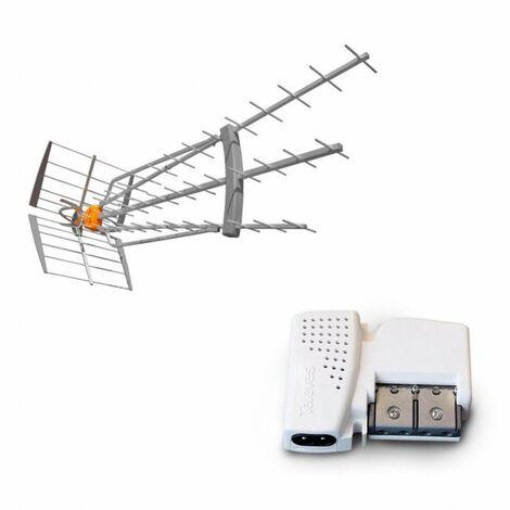 TELEVES Pack Antenne DAT HD BOSS LR 4G LTE 700 Gain 47dBi TNT UHF + Ampli Compact 2 Sorties