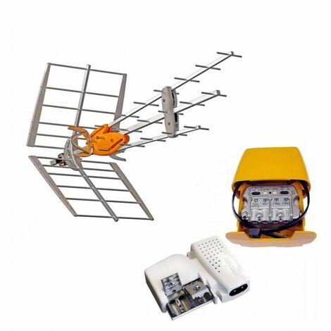 TELEVES Pack Antenne TNT DAT HD BOSS UHF Gain 42dB + Alimentation 24V + Amplificateur Easy F