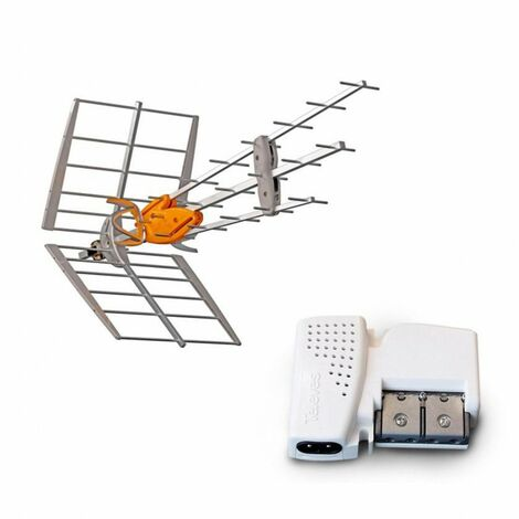 TELEVES Pack Antenne TNT DAT HD BOSS UHF Gain 42dB ! + Amplificateur Compact 2 Sorties 560542