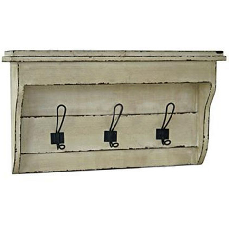 TELFORD - Narrow Wall Shelf with 3 Double Coat / Towel Hooks - Cream / Black