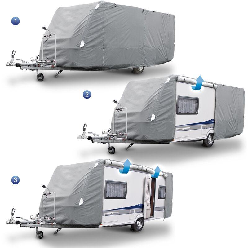 ECD Germany Telo Copri Roulotte Caravan S 426x225x220 cm Telo Completo per Camper traspirante S 426x225x220 cm Telo Copertura per Roulotte Rimorchio Auto S Dimensioni 426x225x220 cm