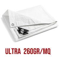 Telo PVC ULTRA 260gr occhiellato copertura impermeabile esterni Bianco
