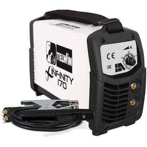Telwin Elements INFINITY 170 Elektroden Schweißgerät und WIG Schweißgerät DC Gleichstrom 20 - 150 A, 230 V, Set inkl. Elektrodenhalter und Masseanschlussgarnitur