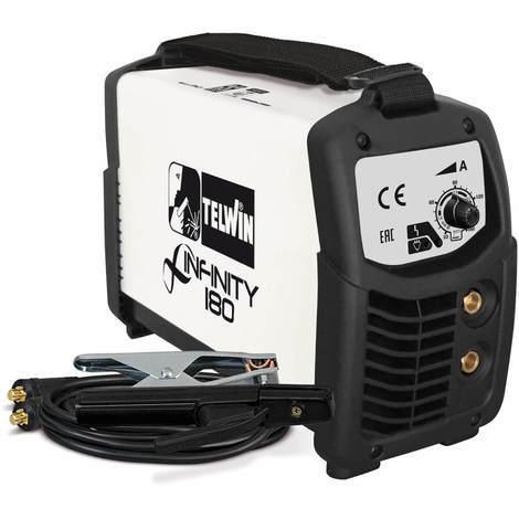 Telwin Elements INFINITY 180 Elektroden Schweißgerät und WIG Schweißgerät mit DC Gleichstrom 20 - 160 A, 230 V, Set inkl. Elektrodenhalter und Masseanschlussgarnitur