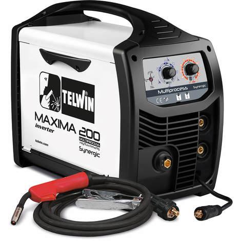 Telwin Elements MAXIMA 200 Multiprozess SYNERGIC Schutzgas Schweißgerät MIG/MAG WIG MMA Fülldraht 20-170A, 230 V, Set inkl. Schlauchpaket und Schweißgarnitur