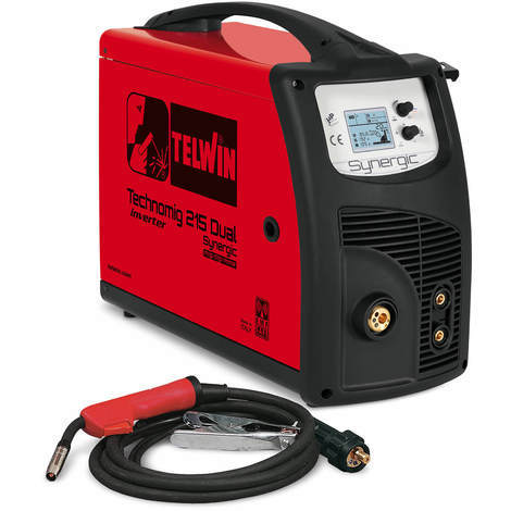 TELWIN Technomig 215 Dual Synergic Multiprozess Universal MIG MAG WIG MMA Inverter-Schweißgerät mit One-Touch-Technology und LCD-Display, Set inkl. MIG MAG Schweißgarnitur