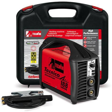 Telwin Tecnica 188 MPGE MMA / WIG Schweißgerät Elektrodenschweißgerät für Generatorbetrieb Outdoor Schweißgerät 10-150 A, Set inkl. Koffer und Schweißplatzausrüstung