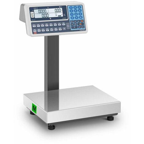 TEM Balanza para Comercio Certificable Báscula Comercial LCD Dual 30 Kg