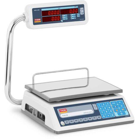 TEM Balanza para Comercio Certificable Báscula Comercial LED 30 kg