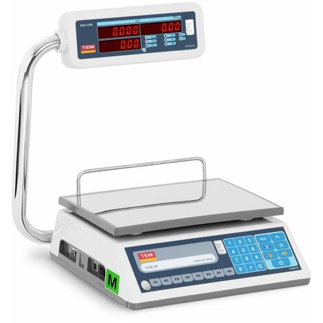 TEM Balanza para Comercio Certificable Báscula Comercial LED Dual 15 kg