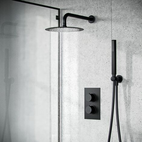 Temel Black Matt Round Concealed Thermostatic Mixer Valve Hand Held Shower Set