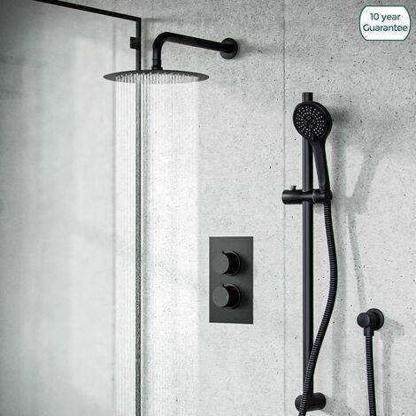 Temel Matt Black Rainfall Shower Head and Thermostatic Mixer Valve with Hand Held Set