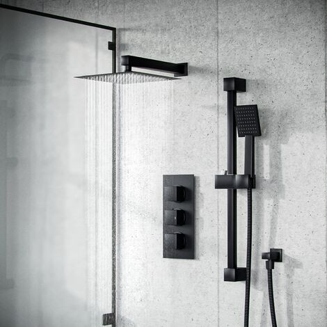 Temel Matt Black Rainfall Shower with Thermostatic Control and Hand Held Set