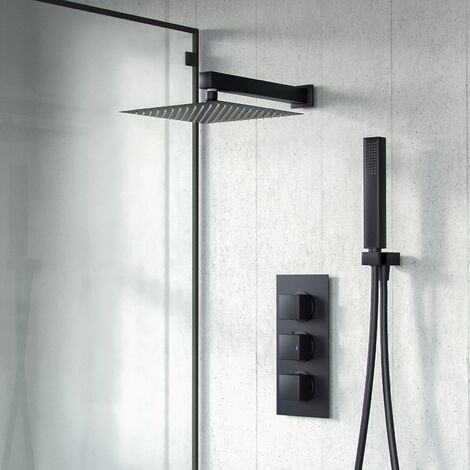 Temel Matt Black Square Shower Head Concealed Thermostatic Mixer Valve Hand Held