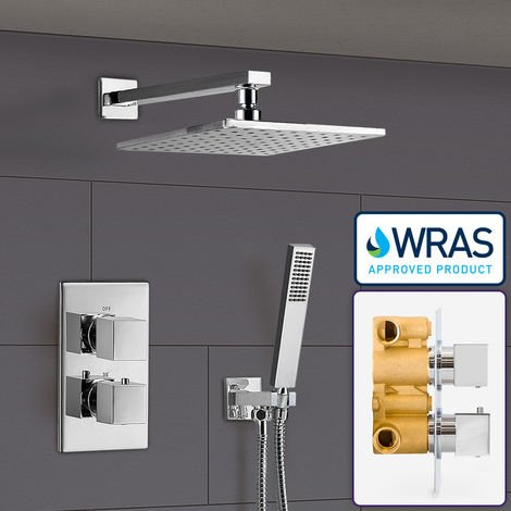 Temelis 2 Dial 2 Way Square Concealed Thermostatic Mixer Valve Abs Shower With Hand Held Kit