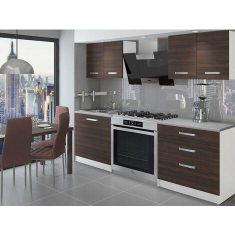 TEMPERA - Cuisine Complète Modulaire + Linéaire 120 cm 4 pcs - Plan de travail INCLUS - Ensemble armoires meubles cuisine - Châtaigne