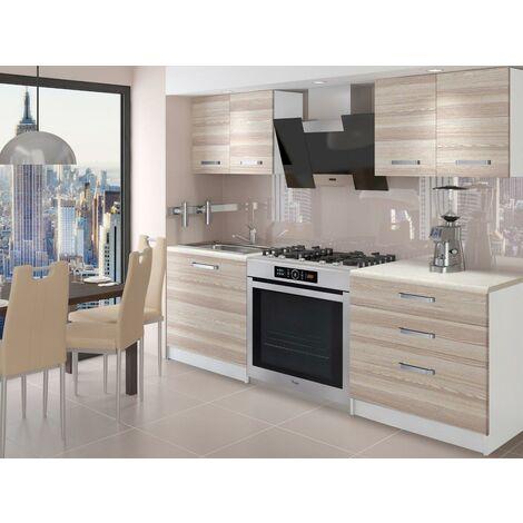 TEMPERA | Cuisine Complète Modulaire + Linéaire L 120cm 4 pcs | Plan de travail INCLUS | Ensemble armoires meubles cuisine | Acacia - Acacia