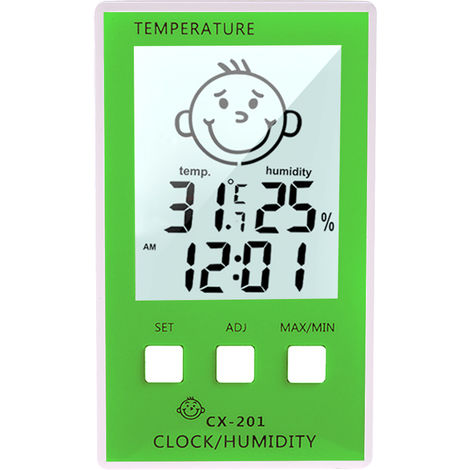 Temperature and humidity electronic clock thermometer hygrometer green