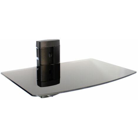 Tempered Black Glass Floating Shelf   M&W 1 Tier